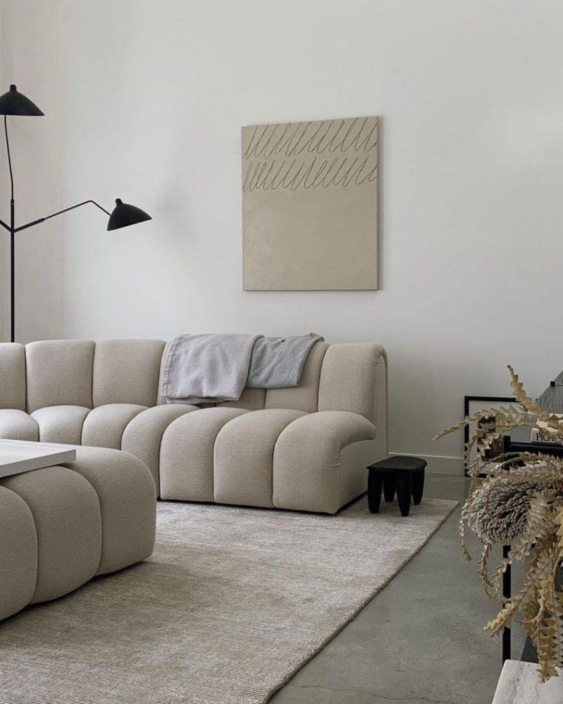 Beige furnishing for a neutral palette of minimalist interior design