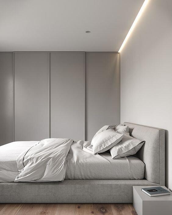 Minimal grey bedroom