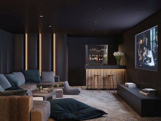 Room interior design for movie room at home