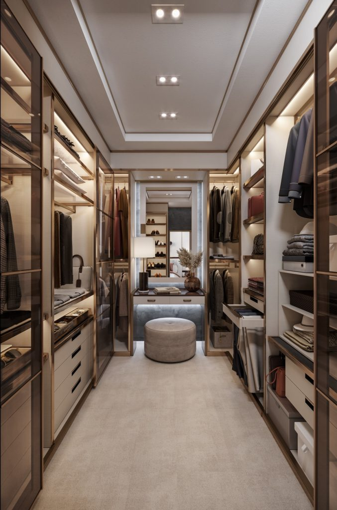 Room interior design for walk-in wardrobe
