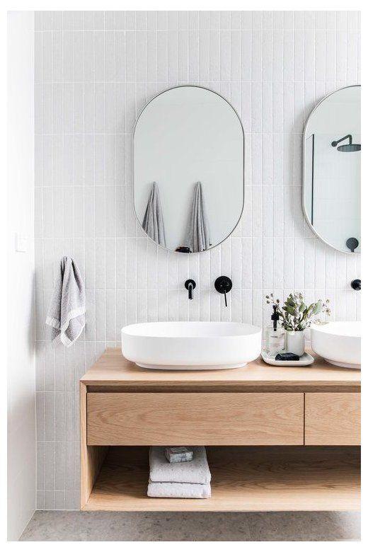 Minimalist bathroom in Scandinavian-designed home