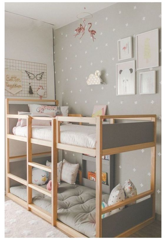 Design a minimalist Scandinavian room for your teens with a simple bunk bed