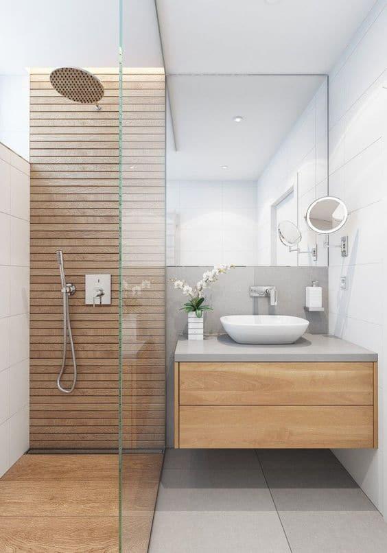 Wood accents in Scandinavian bathroom