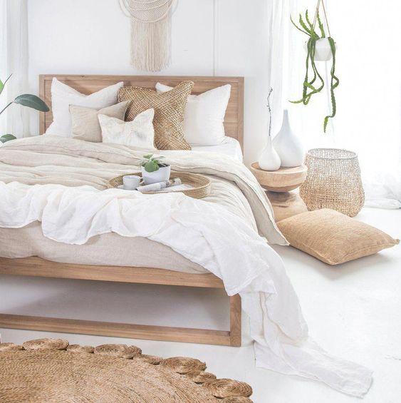 Use of natural materials in Scandinavian bedroom
