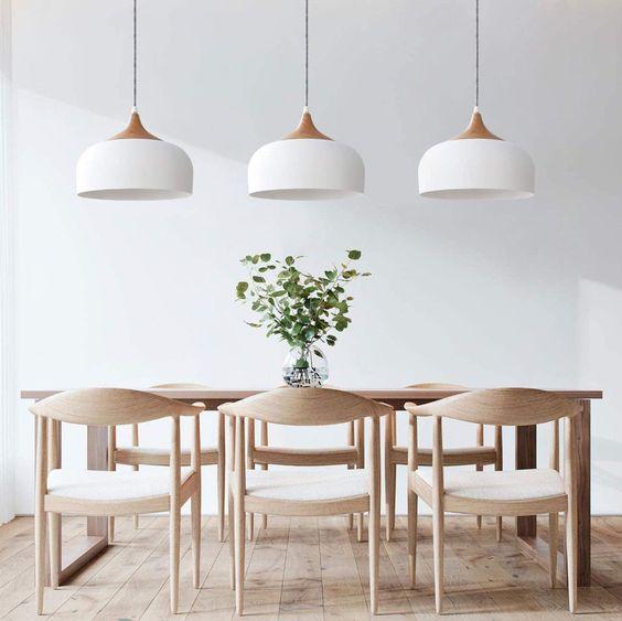 No mess, minimal decor in Scandinavian dining room