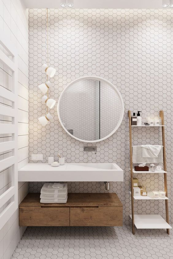 Bright spaces is the main theme in Scandinavian homes, even in bathrooms