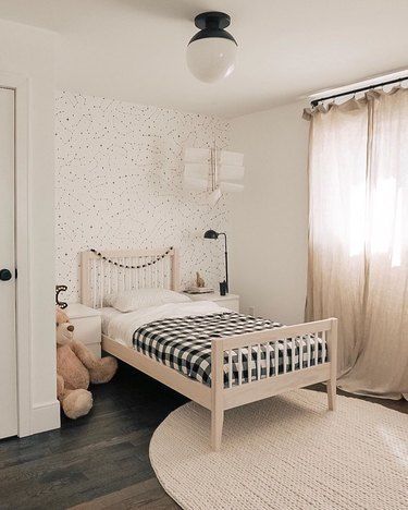 With the right materials and colours, a no frills kids bedroom can still look splendid