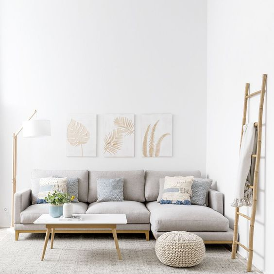 Scandinavian minimalist interior for living room