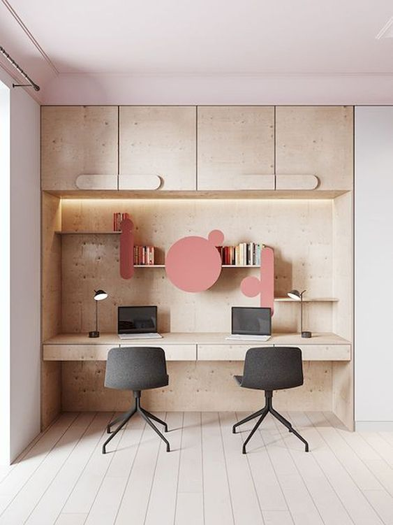 Creating a home office for two doesn't have to be complicated in a Scandinavian home