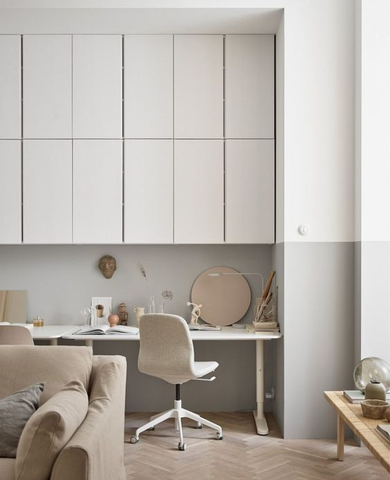 Use light wood for cabinetry in a Scandinavian home office