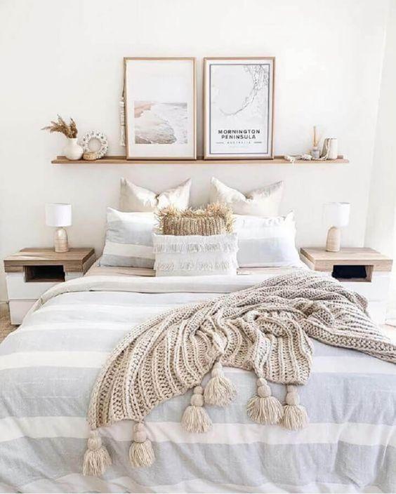 Light colours in Scandinavian bedroom interior
